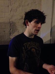 Colin Morgan signing autographs outside the Harold Pinter Theatre, London.