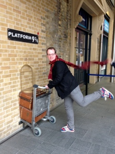 Me trying to make it to Platform 9 and 3/4 (they made me do the pose)